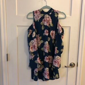 Long flair sleeved blue dress with floral print